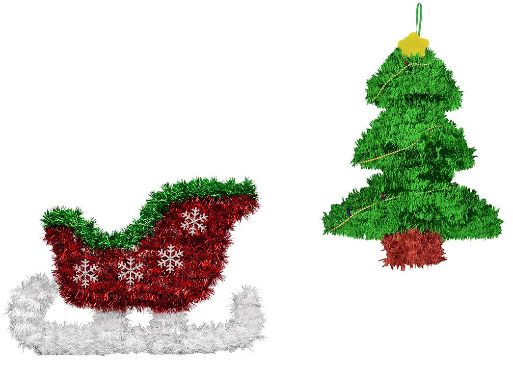 Tinsel Sleigh and Christmas Tree-Shaped Wall Decorations for Home or School Bundle of 2 Wall Decor - 1 Tree, 1 Sleigh
