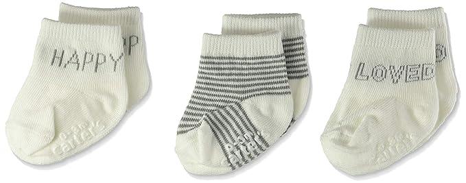 Amazon Com Carter S Baby Boys Neutral Ivory Crew Sock 3 Pack Clothing