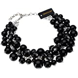 Fashion Black Chain Lots Resin Simulated Pearls Beads Cluster Choker Statement Necklace