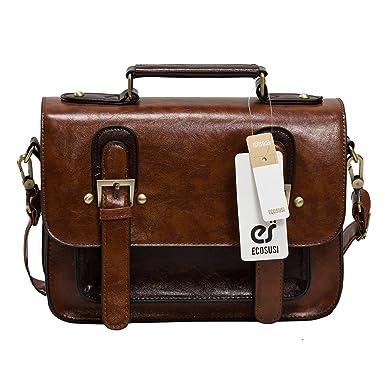 Amazon.com: ECOSUSI Women Faux Leather Vintage Small Satchel Bag ...