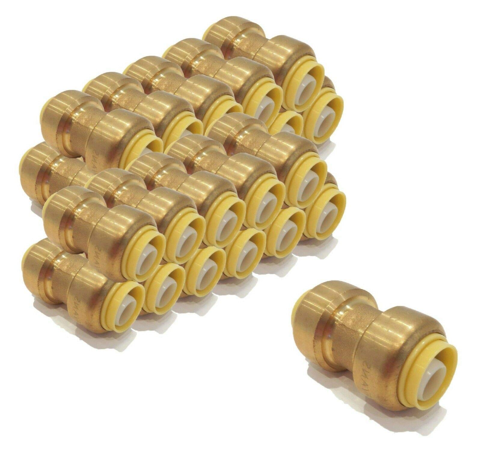 | (Pack of 50) 1/2 inch x 1/2 inch Brass Coupling Fittings replace Watts LF4715-10 by The ROP Shop (Image #1)