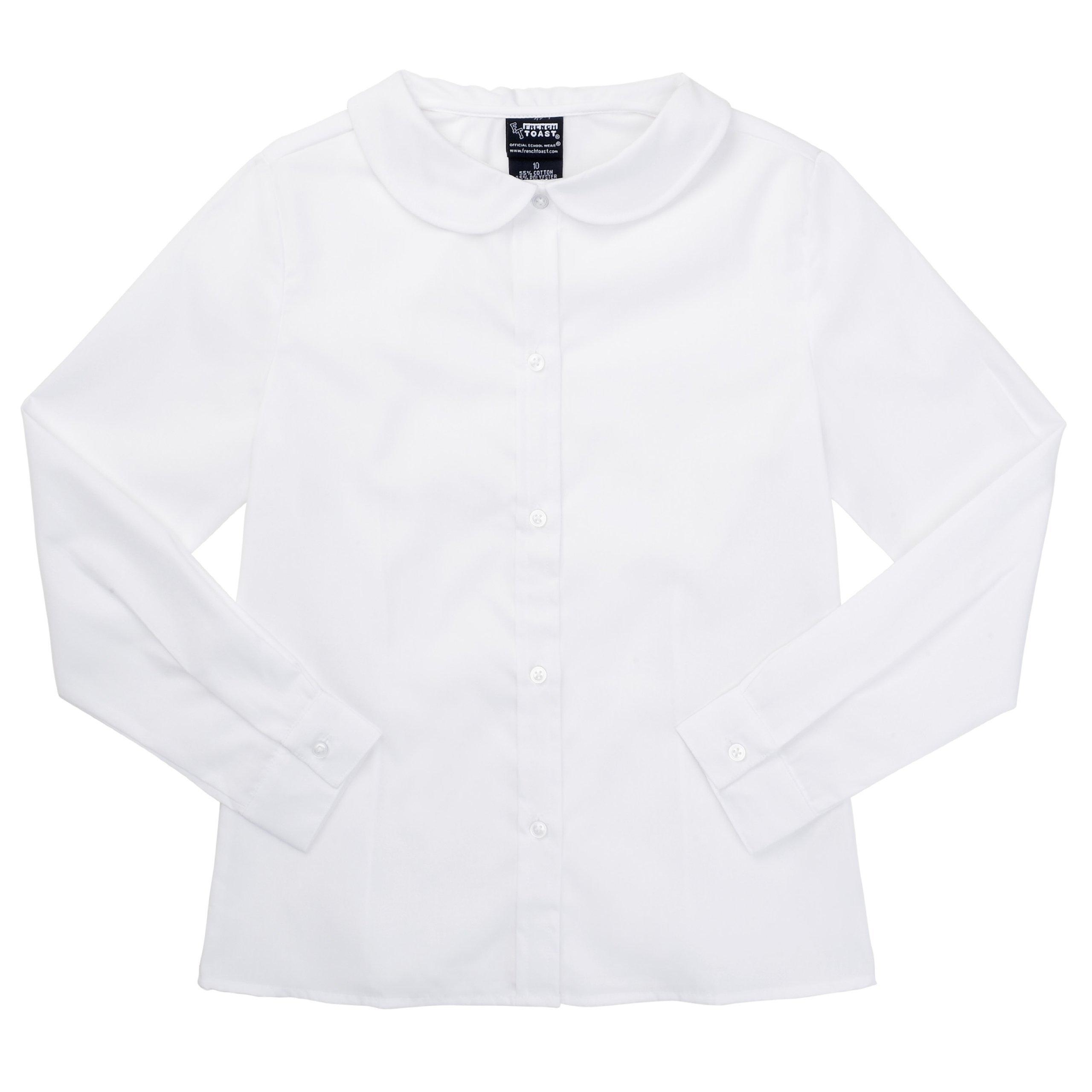 French Toast School Uniform L/S Peter Pan Blouse (Sizes 7 - 20) - white, 7