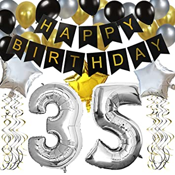 KUNGYO Classy 35TH Birthday Party Decorations Kit Black Happy Brithday BannerSilver 35 Mylar