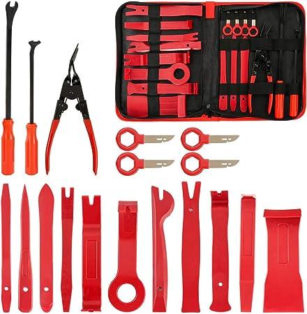 FXWSKY kit de herramientas de extracción de tapicería para coche, 18 piezas, herramientas de tapicería automática, removedor de cierre, juego de alicates de extracción de panel de coche con bolsa de almacenamiento: