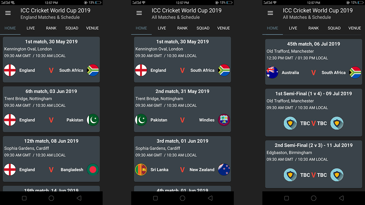 Amazon com: Cricket World Cup 2019 Schedule: Appstore for