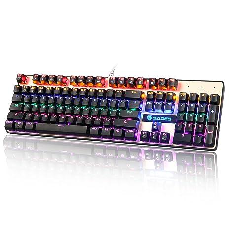 SADES K10 mecánico Gaming teclado 104 teclas 19 conflicto no llaves USB con cable retroiluminado Metal