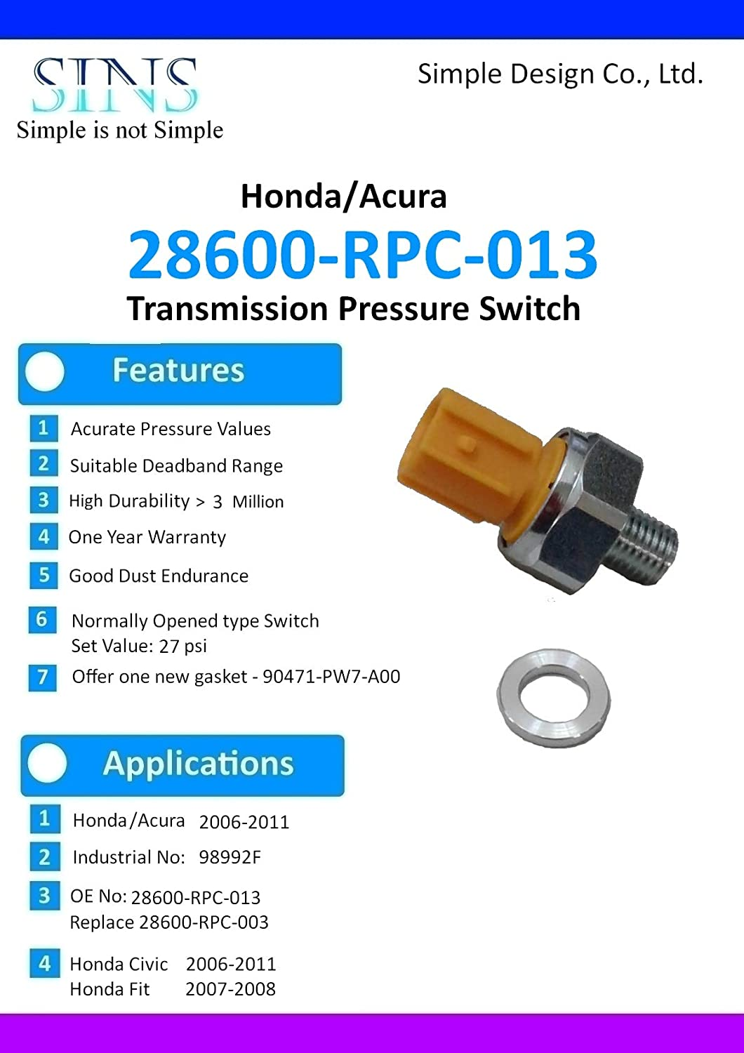 SINS - Civic Fit Transmission Pressure Switch 28600-RPC-013 28600-RPC-003