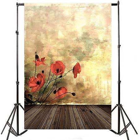 5 x 7ft fotografía fondo piso de madera de Niza y hermoso patrón planta vinilo fondo Studio Props: Amazon.es: Electrónica