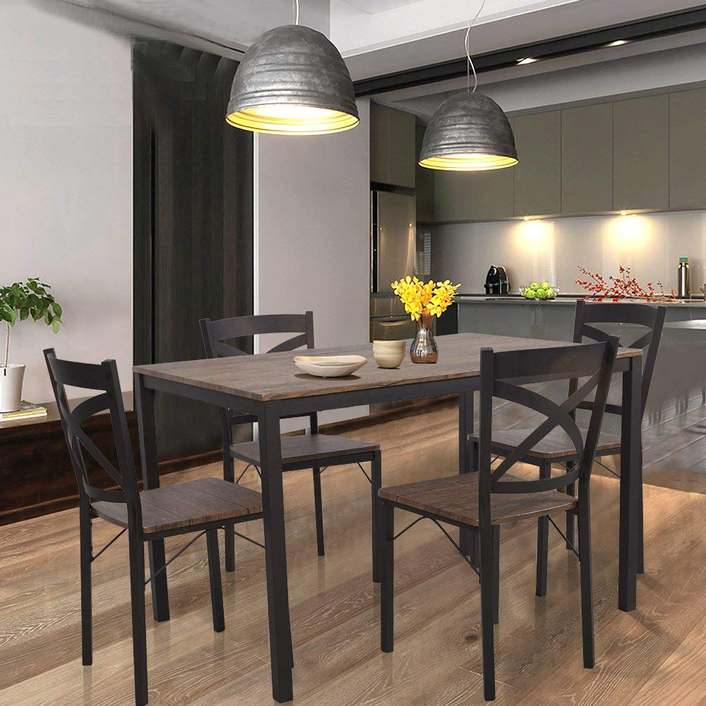 Dporticus 5-Piece Dining Set Industrial Style Wooden Kitchen Table and Chairs by Dporticus