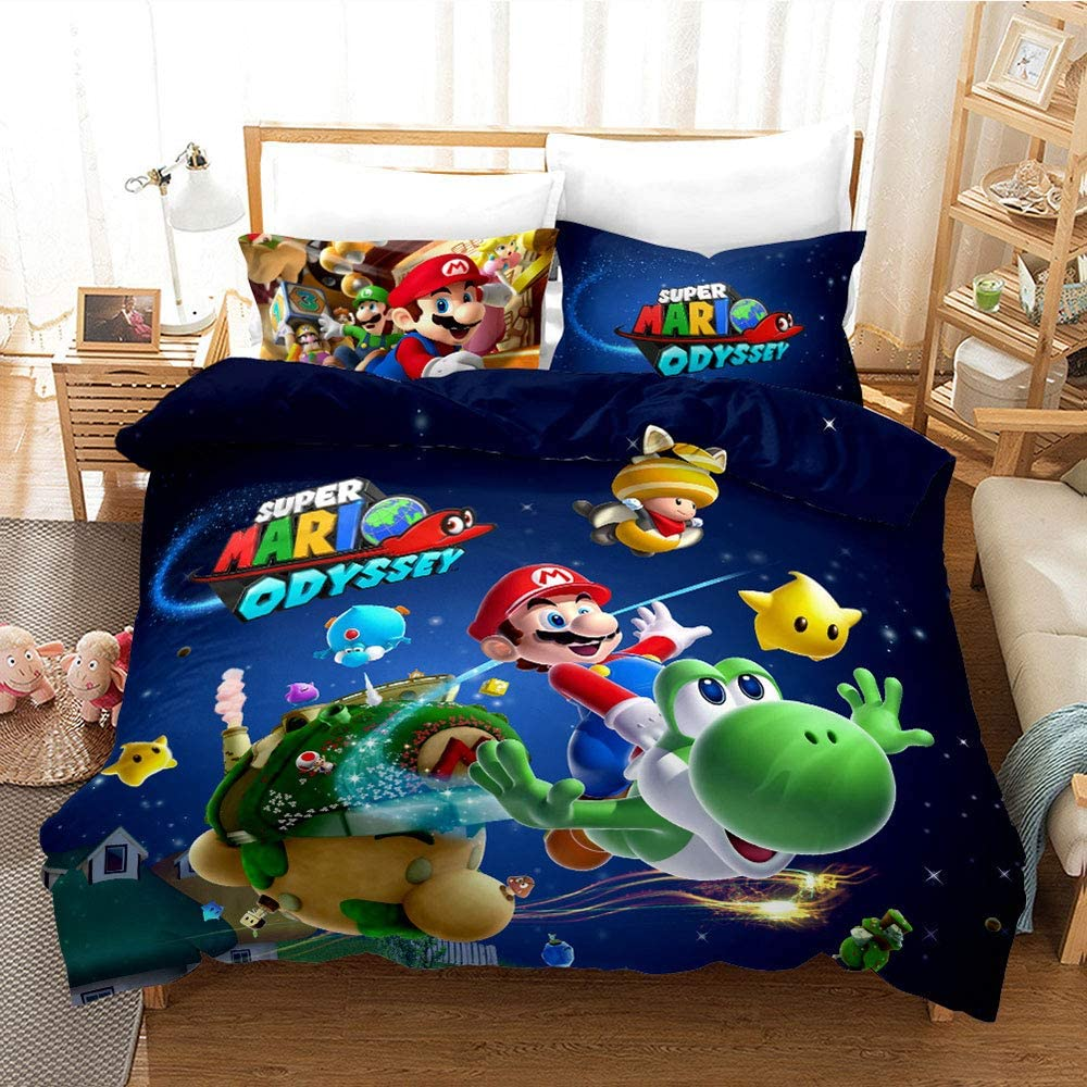apta para ni/ños y ni/ñas A,135 x 200 cm funda de edred/ón de microfibra de colores y varios tama/ños para impresi/ón digital 3D HKYH Super Mario-Juego de cama infantil