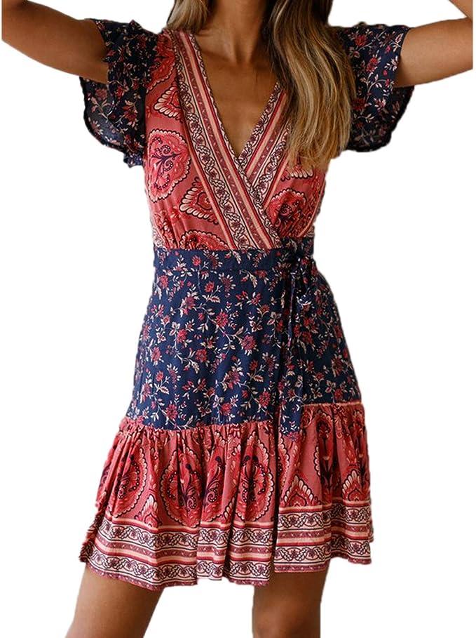 Elonglin Damen Boho Kleid Vintage Sommerkleid V Ausschnitt A Linie Strandkleider Mit Gurtel Party Urlaub Amazon De Bekleidung