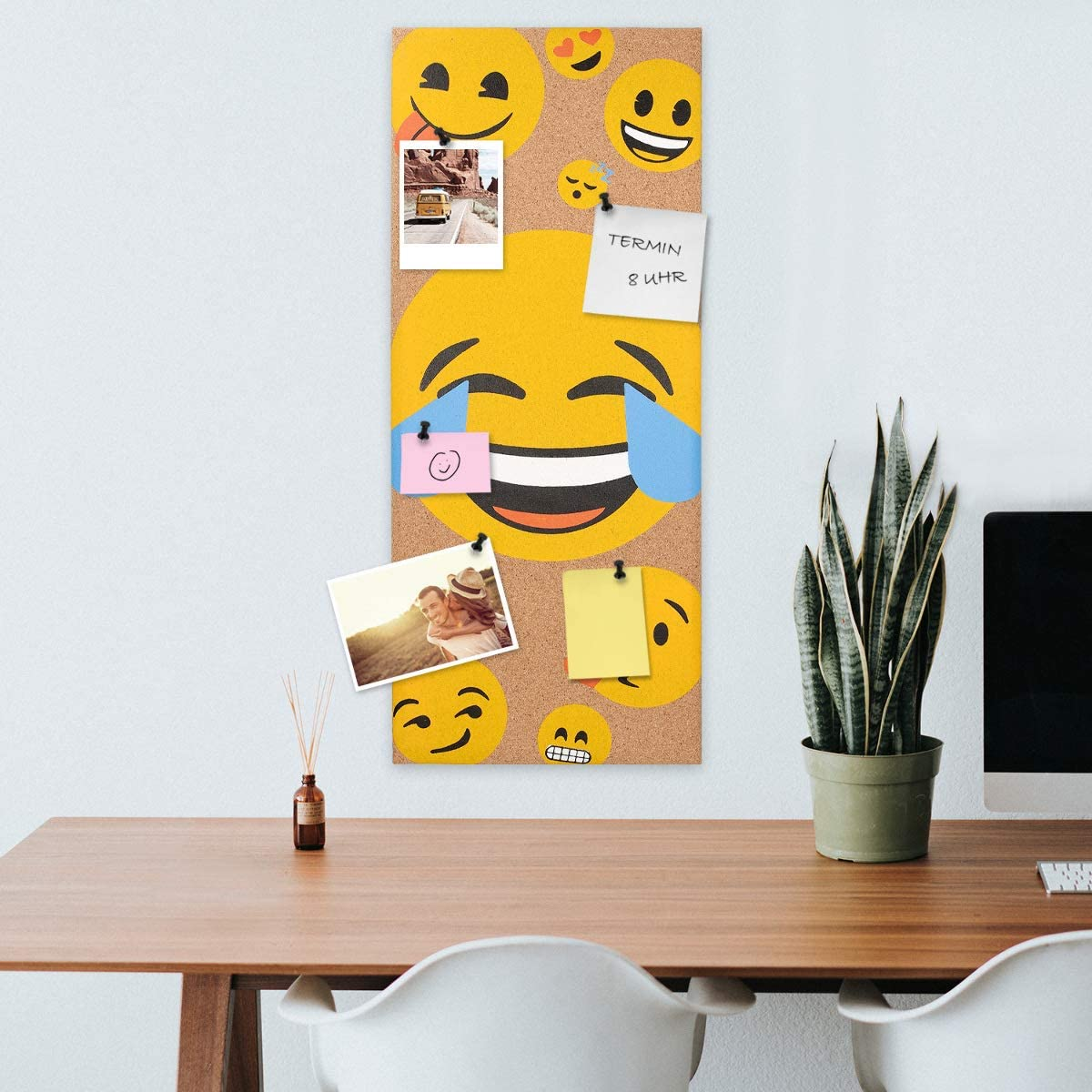 Bedroom Home Office Navaris Cork Bulletin Board Classroom 40 x 40 cm Push Pin Memo Corkboard in Deer Design with Push Pins for Kitchen
