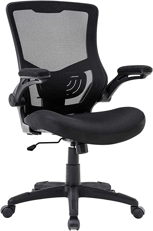 Amazon Com Home Office Chair Mesh Desk Chair Computer Chair With Lumbar Support Flip Up Arms Ergonomic Chair Adjustable Swivel Rolling Executive Mid Back Task Chair For Women Adults Black Furniture Decor