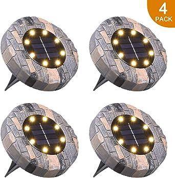 Lámpara Solar para Césped,Tomshine 4 Pack 8 LEDs Luces Solares para Jardín,IP65 Impermeable,Luz Enterrada,Focos Solares LED para Exterior,Jardín,Terraza, Césped,Pasarela(Blanco Cálido): Amazon.es: Iluminación
