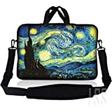 "LSS 15.6 inch Laptop Sleeve Bag Carrying Case Pouch w/ Handle & Adjustable Shoulder Strap for 14"" 15"" 15.4"" 15.6"" Apple Macbook, GW, Acer, Asus, Dell, Hp, Sony, Toshiba, Starry Night"