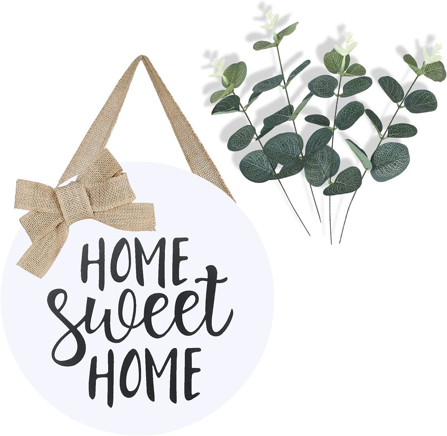 LEJHOME Home Sweet Home Sign Front Door - Wood Welcome Wreaths Sign for Rustic Farmhouse Decorations - Rustic Wooden Door Hangers Front Porch Decor Outdoor Hanging 12 x 12 Inch