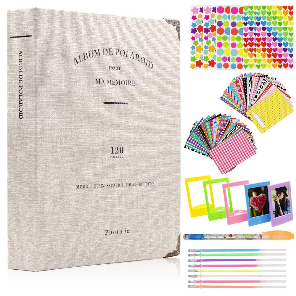 Ablus 2x3 Inch Photo Paper Film Album Set for Fujifilm Instax Mini Camera/HP Sprocket Photo Printer/Polaroid Snap, Z2300, SocialMatic Instant Cameras & Zip Instant Printer(120 Pockets, Light Gray)