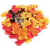 New 5 Color 500 pcs. Artificial Cloth Maple Leaves Multicolor Autumn Fall Leaf for Art Scrapbooking Wedding Bedroom Wall…