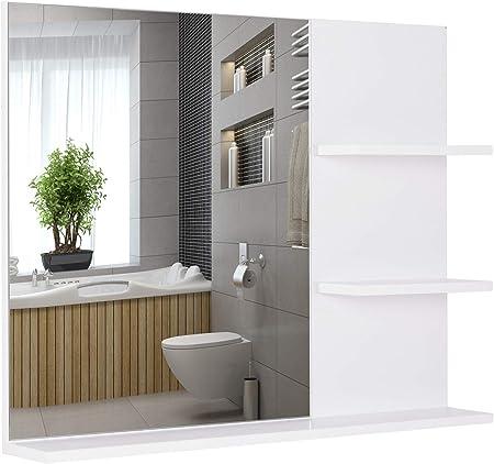 kleankin Espejo de Baño para Colgar en la Pared Espejo de Pared con 3 Estantes Incorporados 60x10x48 cm Blanco