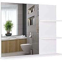 kleankin Espejo de Baño para Colgar en la Pared Espejo de Pared con 3 Estantes…