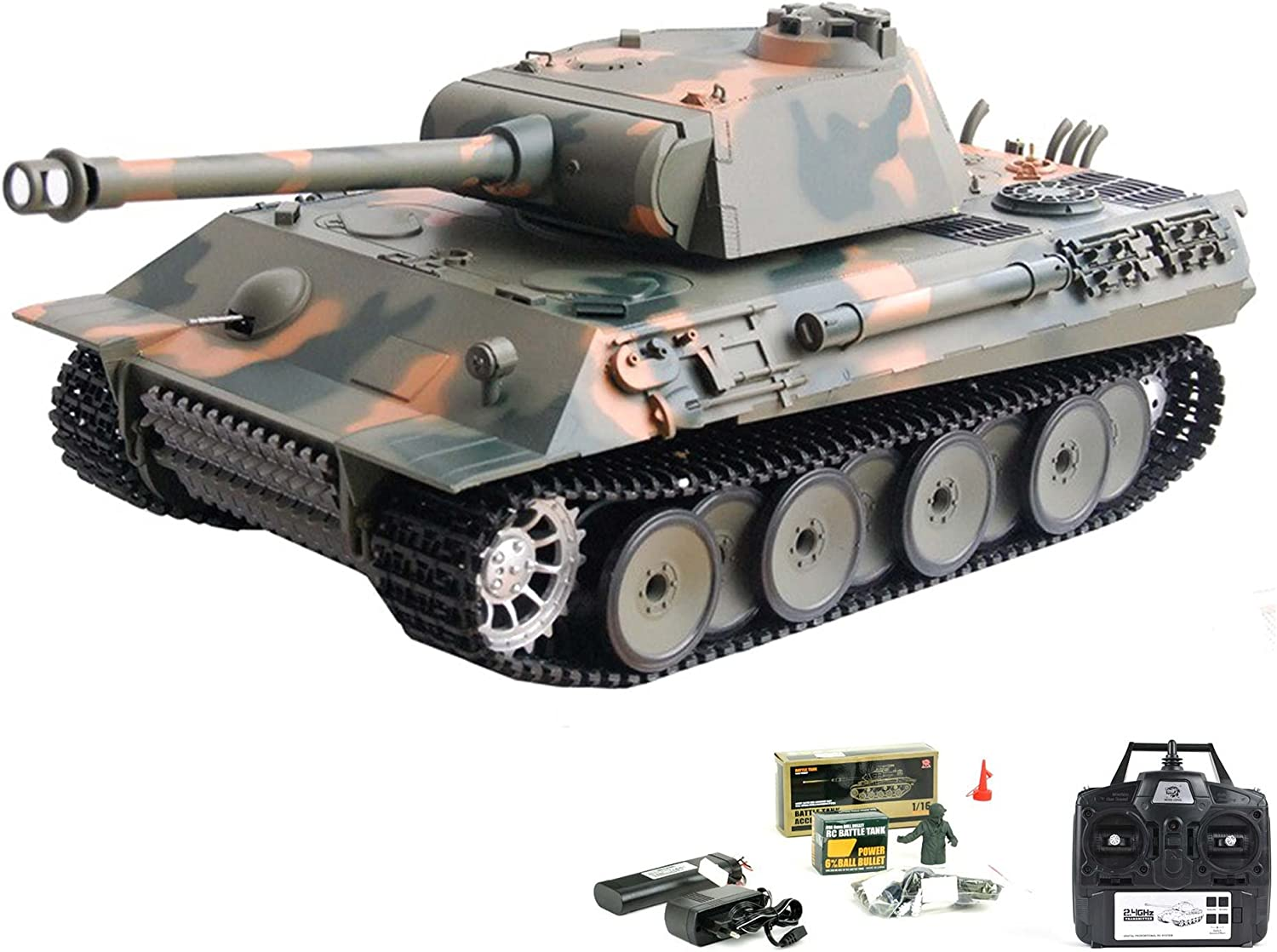 German Panther 2.4 GHz Edition RC ferngesteuerter 1/16 Char, feu, Sound,  fumée, Kit complet RTR: Amazon.es: Juguetes y juegos