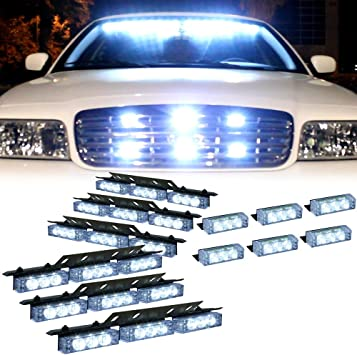Zone Tech 54X LED Emergency Warning Strobe Lights Bar Premium Quality Ultra Bright Blue and Red LED Emergency Warning Use Flashing Strobe Lights Bar for Windshield Dash Grille Comfort Wheels es0008