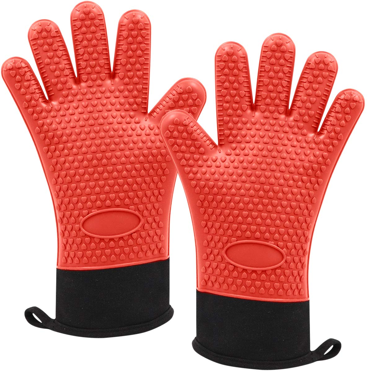 Silicone Cooking Gloves, Heat Resistant Grilling Gloves Oven Mitts with Extra Long Sleeve Internal Protective Cotton Layer, Non-Slip Cooking, Baking, Barbecue Gloves (Red)