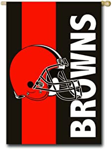 Team Sports America NFL Cleveland Browns Embroidered Logo Applique House Flag, 28 x 44 inches Indoor Outdoor Double Sided Decor for Football Fans