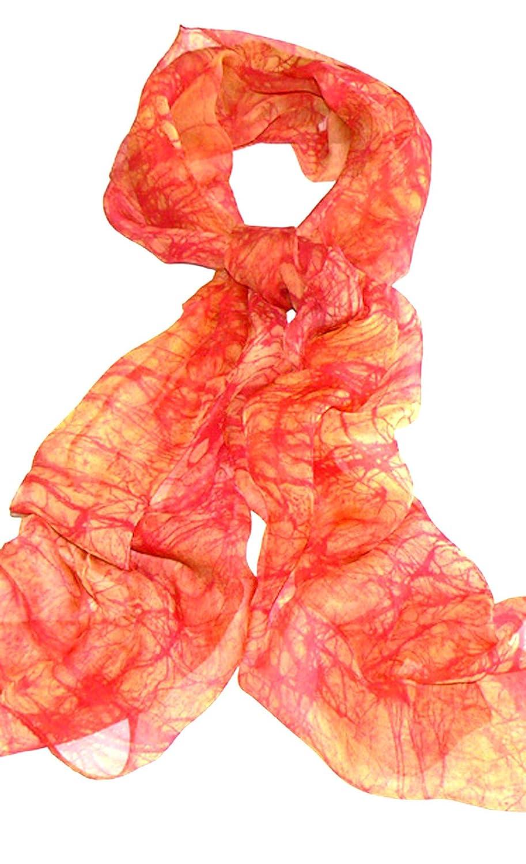 Silk Salon Handmade 100% Silk Scarf Oblong Batik Hand Painted Orange
