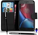 Motorola Moto G4 - Premium Leather BLACK Wallet Flip Case Cover Pouch with Ball Pen Touch Stylus BLUE Dust Stopper Screen Protector & Polishing Cloth, (WALLET BLACK)