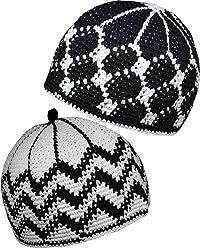 4e49e6ac8f1 Set 2 Muslim Kufi Hat AMN112 Skull Cap Knit Beanie Islam Crochet Takke