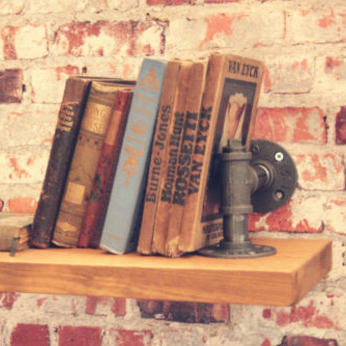 Sans Planche Sans Vis Jeteven 2 Pcs Support /Étag/ère Mural Industriel Rural R/étro /Étag/ère de Rangement Support Tuyau Tablette Mural D/éco Salon Chambre 13 x 13cm