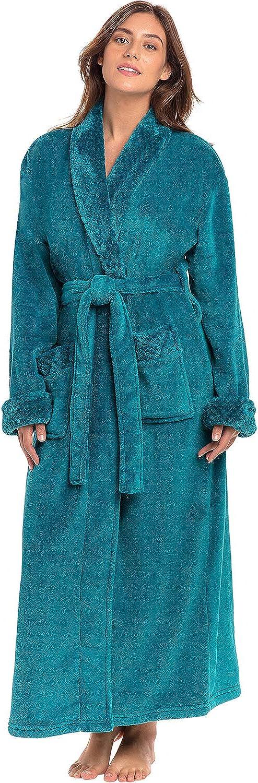 Warm Bathrobe Alexander Del Rossa Womens Plush Fleece Robe with Jacquard Accents