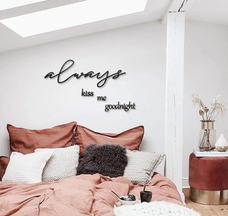 Hoagard Metal Wall Art - Decoración minimalista para pared - Always Kiss Me Goodnight - Para salones y dormitorios modernos - Metal - Negro