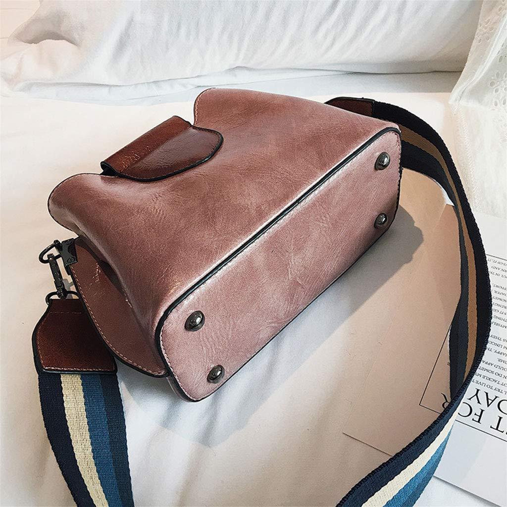 eletyuty Shoulder Bag Women Lady Handbag Shoulder Bags Tote Purse Wide Strap Leather Messenger Bag Satchel Pink
