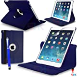 Apple iPad Air 360 Degree Rotating Blue Smart Premium Leather Flip Wallet Stand Case Cover With Auto Sleep Wake Compatibility Big Touch Stylus Pen Screen Protector & Polishing Cloth + 2 IN 1 RED Dust Stopper SVL6875 BY SHUKAN®, (PLAIN BLUE)