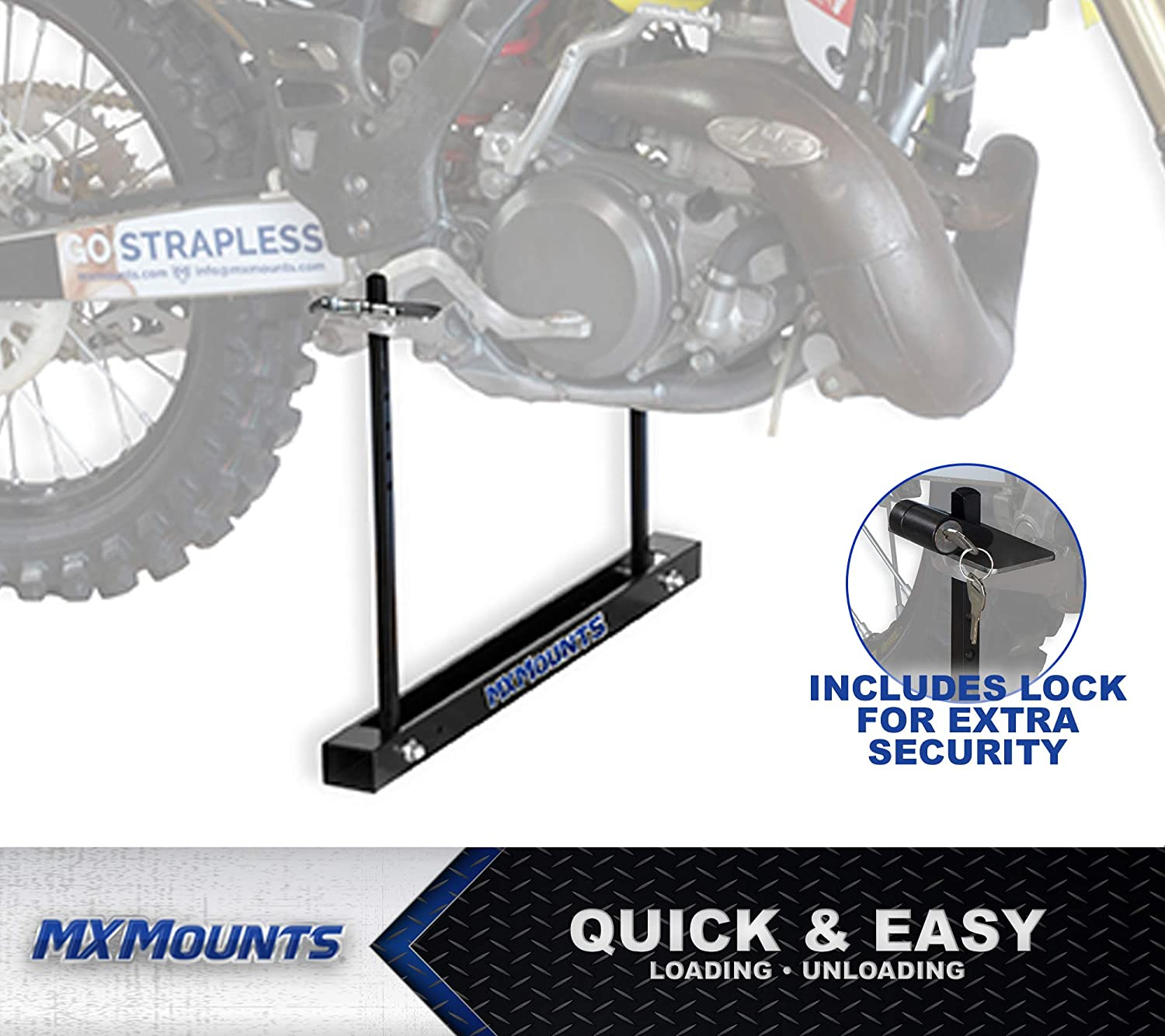 Fold Flat Design Lockable Truck Bed and Trailer Mount All Metal MX Mounts Strapless Easy Installation MXI - Single Mount Motocross Carrier Ultimate Bike Trailer Accessory