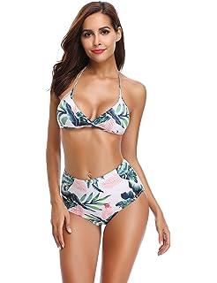 f000546402fba LALAVAVA Women Sexy Halter Bikini Set Floral Print Two Piece Bathing Suits