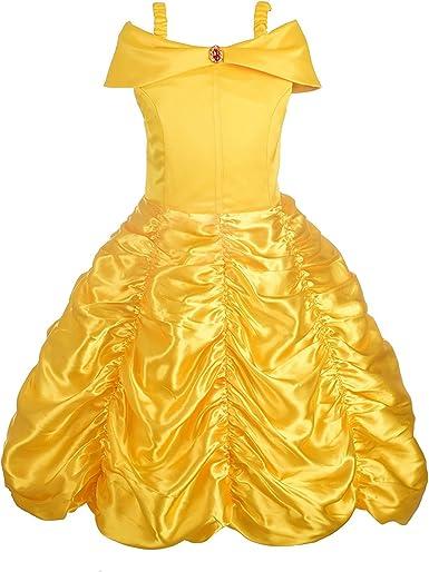 Girls Princess Belle Costume Dress Halloween Cosplay Off Shoulder Party Dress