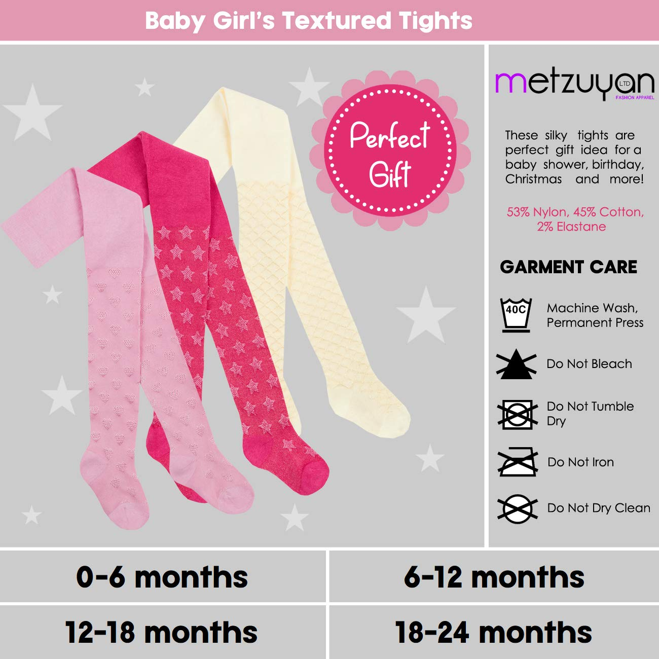 Metzuyan Baby Girl Infant Shiny Tights Silky Textured Design 3 Pairs Cream /& Hot Pink /& Light Pink 18-24 months
