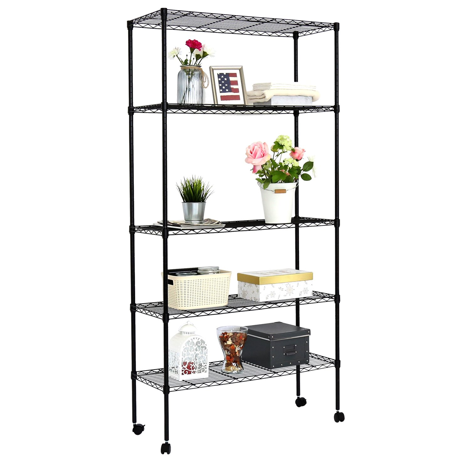 Kinbor 5-Layer Wire Metal Shelf Adjustable Shelving Storage Rack w/Wheels (Black)