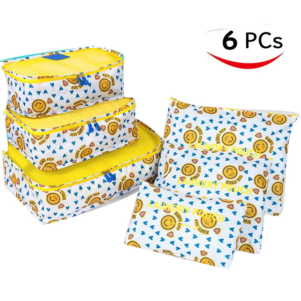 Bonaweite 6 Set Travel Storage Smile Bags Multi-functional Clothing Sorting Packages, Travel Packing Pouches, Luggage Organizer Pouch