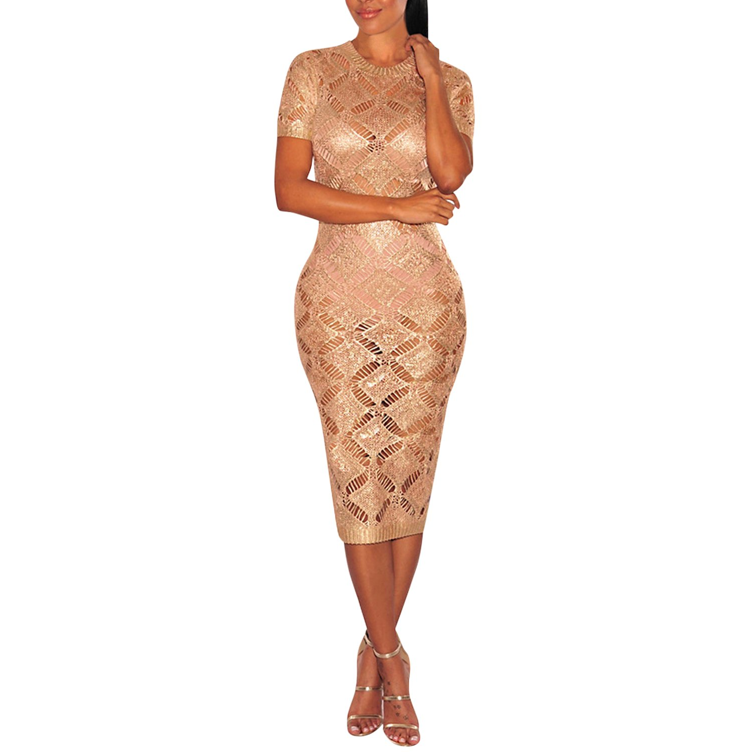 Misscat Women Skinny Hollow Dress Sexy Summer Crochet Knit Sheer Midi Dress