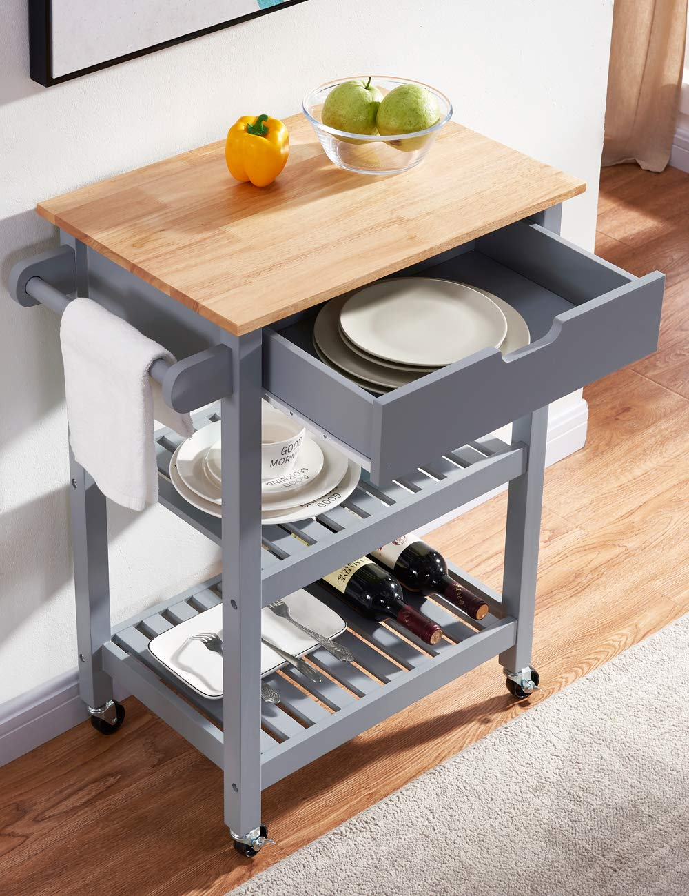 Linio-home Rolling Kitchen Island Cart with Wheels, Grey Kitchen Cart with Storage and Drawers, Small Moveable Bar/Microwave Cart for Dining Rooms Kitchens and Living Rooms by Linio-home