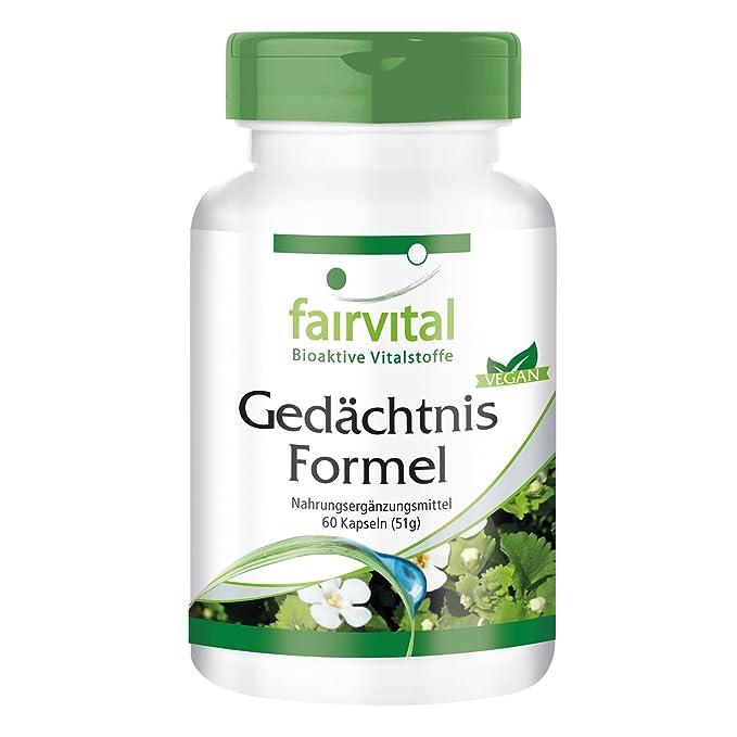 Cápsulas para la memoria - VEGANO - Altamente dosificado - 60 cápsulas con Brahmi (Bacopa monnieri), ginkgo y más - ¡Calidad Alemana garantizada!