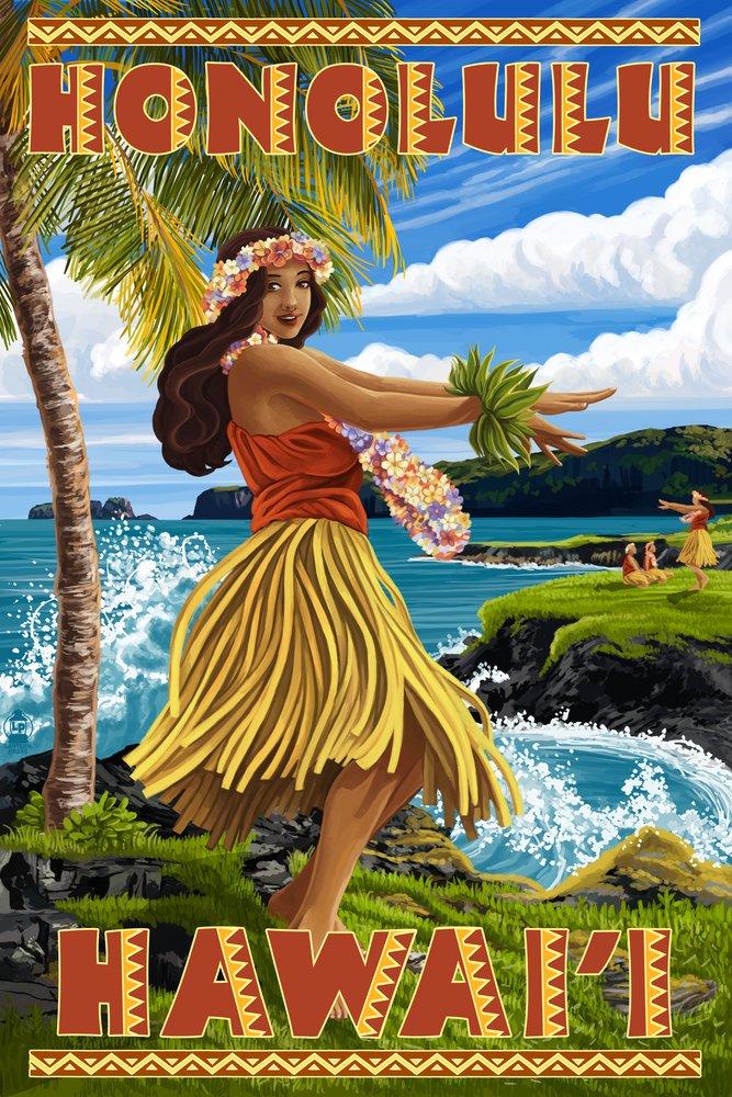 Hula Girl on Coast – ホノルル、ハワイ 36 x 54 Giclee Print LANT-46131-36x54 B017E9XIF8  36 x 54 Giclee Print
