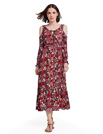 782c636b307d Alisa Pan Round Neck Flower Print Vintage Dress for Women Size 4 Burgundy