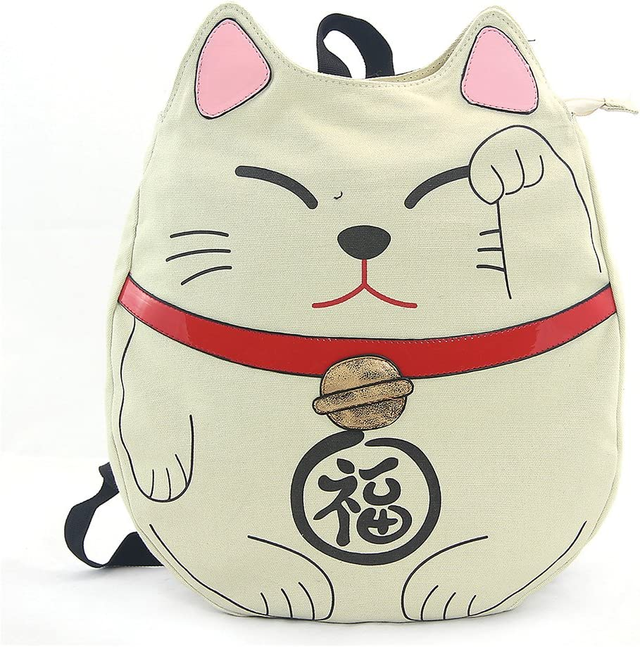Sleepyville Critters – Lucky Cat Backpack in Canvas Material