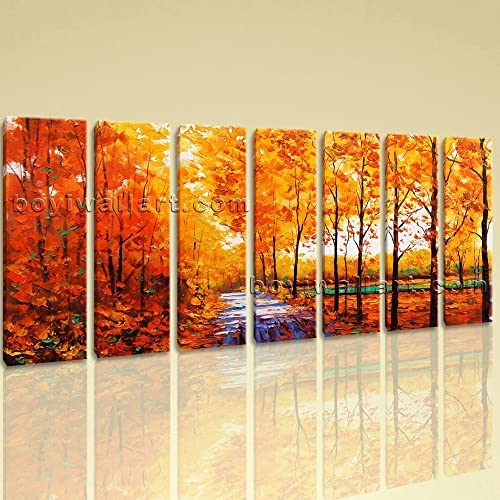 Amazon.com: Extra Large Autumn River Painting Landscape Contemporary ...