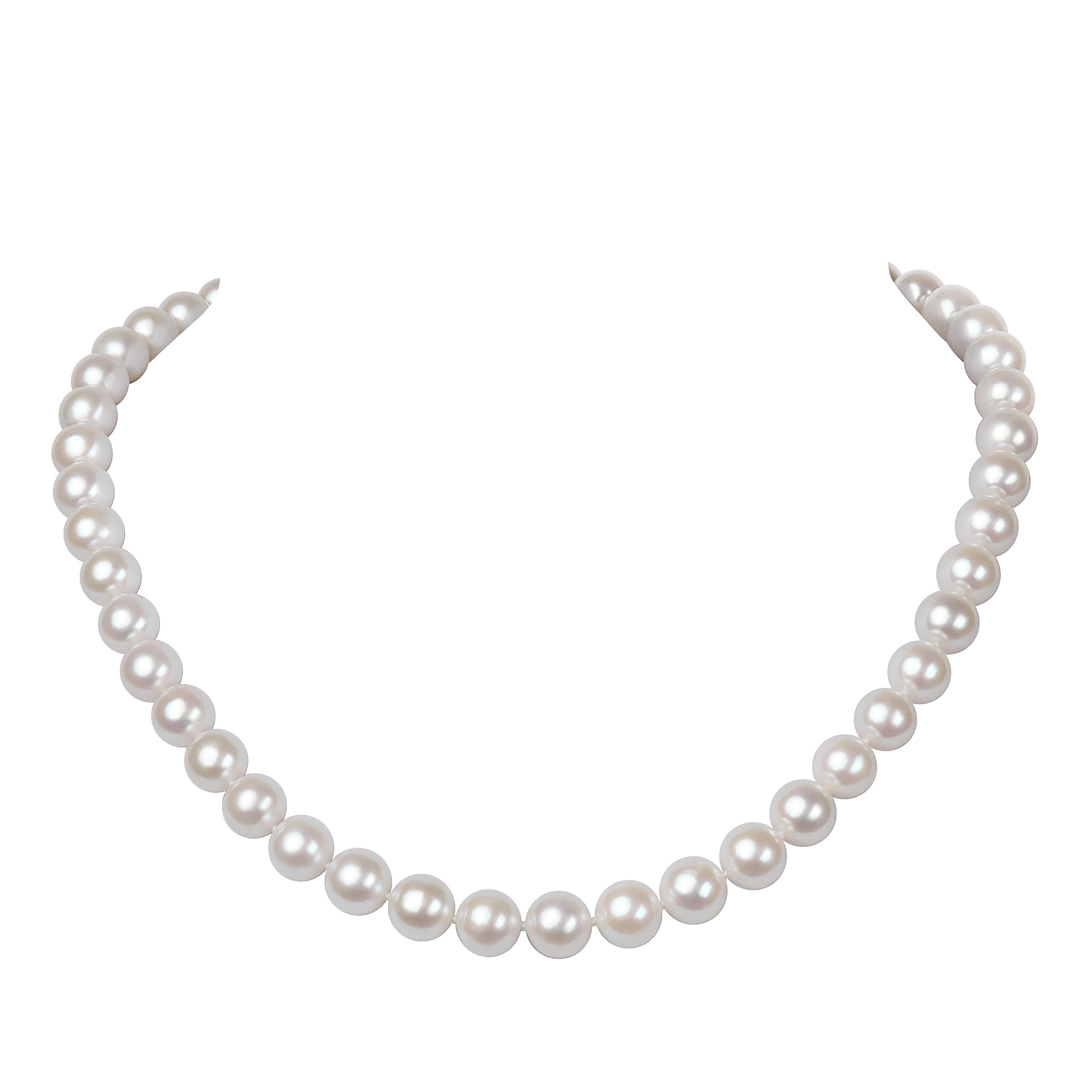 Malahill AAA Quality Round White Freshwater Cultured Pearl Necklace for Women, 925 Silver Clasp Plated by White Gold and Paved by Micro Zircon (8-9mm, 18'')